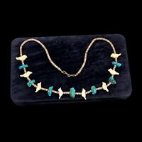 Vintage Sterling Silver Native Navajo Pawn Carved Wood Bisbee Turquoise Necklace
