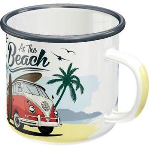 VW Volkswagen Bulli Bus on Beach Blechtasse Emaille Becher Tasse 8 x 8 cm 360 ml
