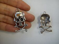 10 large skull pendant charm tibetan silver antique style wholesale craft R69