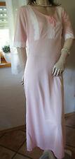 Anmutiges Vintage Nylon Negligee * Nachtkleid rosa Spitzenschmuck  L