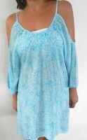 Ladies Tunic Dress Kaftan Maxi Summer Blue Size 8 10 12 Small Medium New SALE
