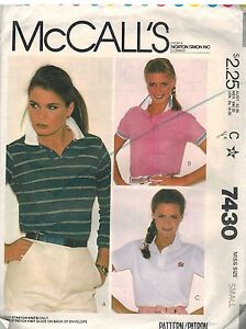 7430 Vintage McCalls Sewing Pattern Misses Pullover Top Stretch Knits OOP Small