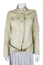 *PRADA* WOMEN'S CREAM LEATHER DISTRESS BIKER JACKET (44)