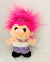 Trolio Trolls Plush Troll Pink Hair Chosun 1992 Purple Dress Stuffed Doll Poppy