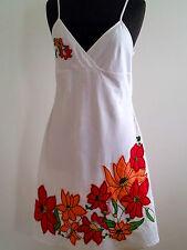 Summer Style! Etam (France) size 44 white linen & cotton appliquéd sundress