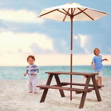 Children Outdoor 4 Seat Kids Picnic Table Bench w/ Folding Umbrella Garden Yard