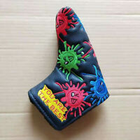 1xGolf Putter Cover Blade Headcover Smile Sunflower Head Cover Pu Leather Magnet