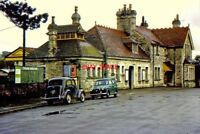 PHOTO  1963 CORFE CASTLE RAILWAY STATION IN BR DAYS BUILT IN LOCAL STONE WITH RA