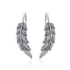 Earrings Long Drop Vintage Feather Wings Women 925 Sterling Silver