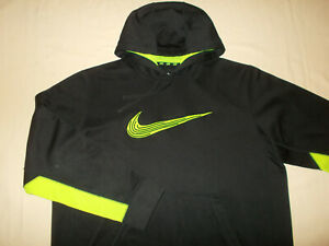 NIKE THERMA-FIT BLACK HOODED SWEATSHIRT MENS XL EXCELLENT CONDITION