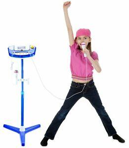 Kids Karaoke Machine 2 Microphone Singing Girl Boy Stand Music Play Toy Set BLUE