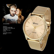 Luxury Classic Geneva Womens Watches Gold Stainless Steel Quartz Men Wrist Watch