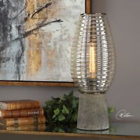 NEW MODERN RIBBED BEEHIVE AMBER GLASS GLOBE TABLE LAMP TAPERED CONCRETE BASE