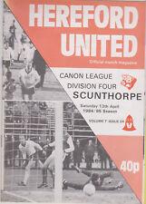 Programma / Programme Hereford United v Scunthorpe 13-04-1985