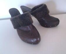 Bally Brown Leather High Heeled Clogs w Fur Trim Sz 41