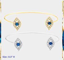 Statement Bracelet Cuff Metal Thin Blue Crystal Rhinestone Evil Eye Protection