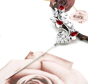 """925 Sterling Silver Mozambique Garnet  Gemstone Jewelry Hair Pin Size-5"""""""