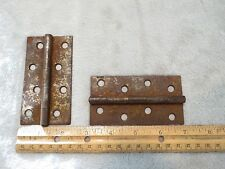 "Antique set of 2 door Hinges Pair Stanley Sweetheart 4"" X 2-1/4"" orig patina"