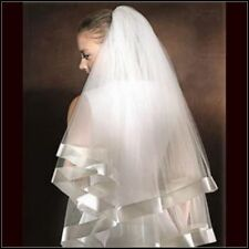 "SALE Light Ivory 2T 2 Tier Layer Sheer 34"" L Elbow Wedding Veil 2"" Ribbom Trim"