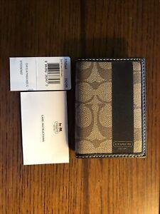 Coach F75459 Money Clip Card Case Calf Leather Wallet - Khaki Brown