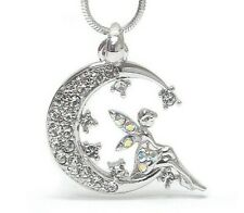 Tinkerbell Fairy Pixie on the Crescent Moon Pendant Necklace White Gold Plated