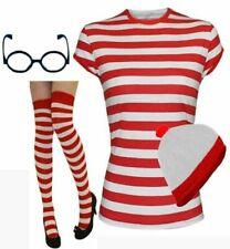 Stylish Ladies Women Wheres Wally Red&White Strips T Shirt Book Week Fancy Costu