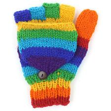 FairTrade fingerless / mitten flap Gloves Rainbow stripe warm winter Wool hunter