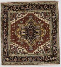Geometric Small Heriz Serapi Square 4X4 Indian Area Rug Oriental Decor Carpet