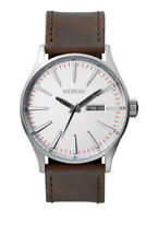 Nixon Sentry Watch - Silver/Brown Leather