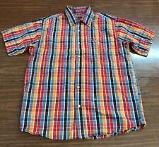 drunknmunky Medium 100% Cotton checkered plaid button front shirt short sleeve