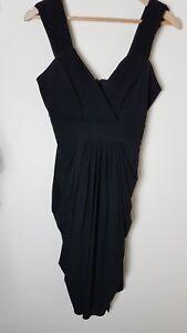 COAST size 10 Sleeveless, Draped/Grecian style Dress Black