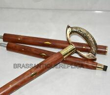 "Nautical Brass Designer Handle Wooden Walking Stick Cane In 3 Fold 36"" Long Gift"
