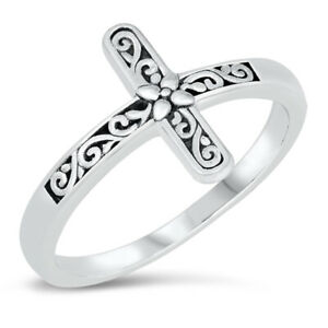 Ornate Sideways Floral Cross Ring New .925 Sterling Silver Band Sizes 4-10