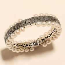 Fresh Water Italian Pearl Bangle 925 Sterling Silver Christmas Fine Jewelry Gift