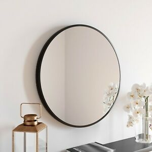 Large Modern Round Glass Mirror 60cm Black Frame Wall Mounted Bathroom Vanity