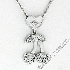 Petite 18K White Gold .10ctw Diamond Dual Cherry Charm Slide Pendant & Box Chain