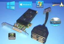 Dell Vostro 410 NVIDIA Quadro Quad Displayport 4 Monitor Video Card PCI-E x1