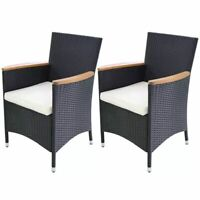 vidaXL 2x Garden Chairs Poly Rattan Wicker Black Outdoor Dining Patio Seating