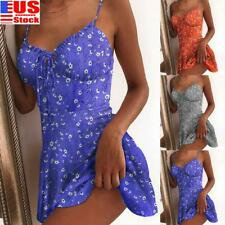 US Womens Floral Sleeveless Strappy Mini Dress Ladies Summer Beach Vest Sundress