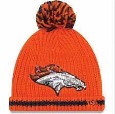 Denver Broncos Women's Sequin Frost Beanie Knit Hat With Pom