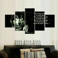 Strong Wolves Poster Wall Art Black And White Wolf Home Decor 5 pcs Canvas Print