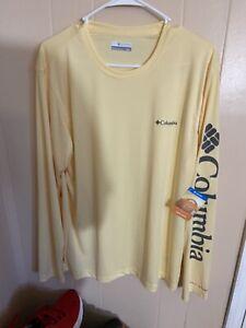 Columbia Omni Shade Rapid Creek Yellow Long Sleeve Shirt Mens Medium