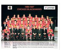 1986 1987 CHICAGO BLACK HAWKS 8X10 TEAM PHOTO HOCKEY NHL HOF ILLINOIS