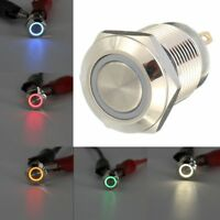 12V 16 / 19 / 22 mm interruptor de boton momentaneo impermeable LED Power Metal