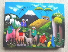 Primitive Painting on Pig or llama Skin. Colorful Rural Life Scene. Signed.