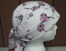 Pink Ribbon/Bra's with Scroll Print/White Flannel Breast Cancer Do Rag/Skull Cap