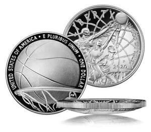 2020-P $1 Basketball Hall of Fame .999 SILVER PROOF Dollar ANACS PF70 DC