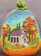 """Ceramic Bisque Ready to Paint Pumpkin Fall Church Scene 14""""T x 10.75"""" lighted"""