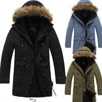 Men's Chic Fur Collar Hood Parka Overcoat Thicken Warm Winter Coat Solid Outwear