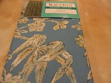 new~fabric Waverly~Honeymoon Flowers~Leaves~Shower Curtain~Blue Tans~Cream